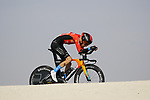 Gino Mader (SUI) Bahrain Victorious during Stage 2 of the 2021 UAE Tour an individual time trial running 13km around Al Hudayriyat Island, Abu Dhabi, UAE. 22nd February 2021.  <br /> Picture: Eoin Clarke | Cyclefile<br /> <br /> All photos usage must carry mandatory copyright credit (© Cyclefile | Eoin Clarke)