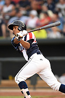 Third baseman Milton Ramos (4) of the Columbia Fireflies bats in a game against the Rome Braves on Monday, July 3, 2017, at Spirit Communications Park in Columbia, South Carolina. Columbia won, 1-0. (Tom Priddy/Four Seam Images)