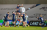 20th November 2020; AJ Bell Stadium, Salford, Lancashire, England; English Premiership Rugby, Sale Sharks versus Northampton Saints;  Corbus Wiese of Sale Sharks wins a lineout and passes to Faf De Klerk of Sale Sharks