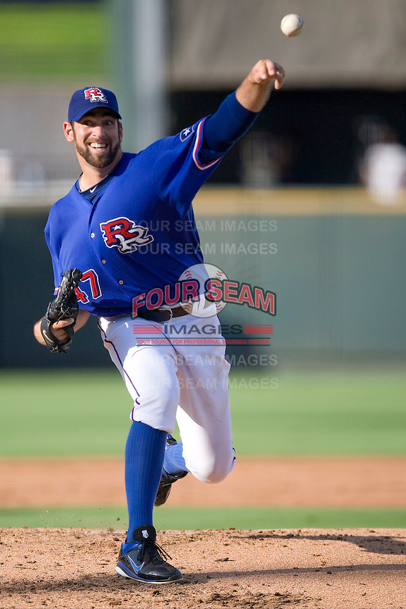 Round Rock Express pitcher Zach Jackson #47 delivers a pitch during a Pacific Coast League game against the Salt Lake Bees at The Dell Diamond in Round Rock, Texas on August 6, 2011. Round Rock defeated Salt Lake 3-1.  (Andrew Woolley/Four Seam Images)