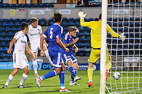 Dayle Southwell of Wycombe Wanderers (2nd left) scores his team's first goal of the game against Brentford to make it 1-1 during the Friendly match between Wycombe Wanderers and Brentford at Adams Park, High Wycombe, England on 19 July 2016. Photo by David Horn PRiME Media Images.
