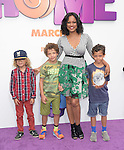 Garcelle Beauvais and kids attend The Twentieth Century Fox Special Screening of HOME held at The Regency Village Theater in Westwood, California on March 22,2015                                                                               © 2015 Hollywood Press Agency