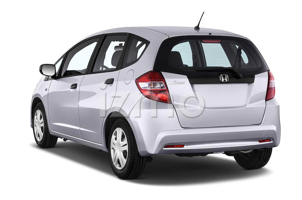 Car pictures of rear three quarter view of a 2014 Honda Jazz s 5 Door Hatchback 2WD Angular Rear