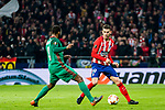 Lucas Hernandez (R) of Atletico de Madrid battles for the ball with Manuel Fernandes of FC Lokomotiv Moscow during the UEFA Europa League 2017-18 Round of 16 (1st leg) match between Atletico de Madrid and FC Lokomotiv Moscow at Wanda Metropolitano  on March 08 2018 in Madrid, Spain. Photo by Diego Souto / Power Sport Images