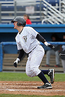 Empire State Yankees catcher Craig Tatum #15 during a game against the Norfolk Tides at Dwyer Stadium on April 22, 2012 in Batavia, New York.  Empire State defeated Norfolk 6-5, the Yankees are playing all their games on the road this season as their stadium gets renovated.  (Mike Janes/Four Seam Images)