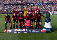 EAST HARTFORD, CT - JULY 5: The USWNT poses for their starting XI photo during a game between Mexico and USWNT at Rentschler Field on July 5, 2021 in East Hartford, Connecticut.