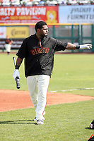 Pablo Sandoval #48 of the San Francisco Giants takes batting practice before the game against the Arizona Diamondbacks in the first spring training game of the season at Scottsdale Stadium on February 25, 2011  in Scottsdale, Arizona. .Photo by:  Bill Mitchell/Four Seam Images.