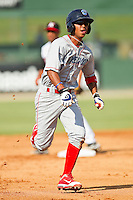 Edgar Duran #19 of the Lakewood BlueClaws hustles towards third base against the Kannapolis Intimidators at Fieldcrest Cannon Stadium on July 17, 2011 in Kannapolis, North Carolina.  The BlueClaws defeated the Intimidators 4-3.   (Brian Westerholt / Four Seam Images)