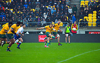 Australia's Reece Hodge takes a late penalty attempt during the Bledisloe Cup rugby union match between the New Zealand All Blacks and Australia Wallabies at Sky Stadium in Wellington, New Zealand on Sunday, 11 October 2020. Photo: Dave Lintott / lintottphoto.co.nz