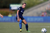 CARY, NC - SEPTEMBER 12: Meredith Speck #25 of the North Carolina Courage passes the ball during a game between Portland Thorns FC and North Carolina Courage at Sahlen's Stadium at WakeMed Soccer Park on September 12, 2021 in Cary, North Carolina.
