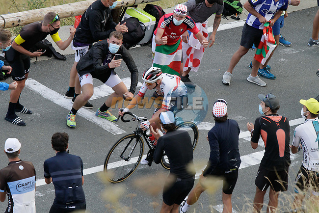 Tadej Pogacar (SLO) UAE Team Emirates gains some time back as he climbs the Col de Peyresourde in front during Stage 8 of Tour de France 2020, running 141km from Cazeres-sur-Garonne to Loudenvielle, France. 5th September 2020. <br /> Picture: Colin Flockton | Cyclefile<br /> All photos usage must carry mandatory copyright credit (© Cyclefile | Colin Flockton)