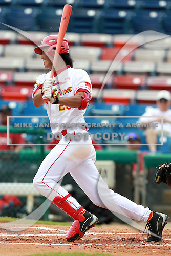 Outfielder Chao Wang (25) of the China National Team during a game vs. the Houston Astros Instructional League team at Holman Stadium in Vero Beach, Florida September 28, 2010.   China is in Florida training for the Asia games which will be played in Guangzhou, China in November.  Photo By Mike Janes/Four Seam Images