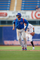 South Bend Cubs catcher Miguel Amaya (9) leads off second base during the first game of a doubleheader against the Lake County Captains on May 16, 2018 at Classic Park in Eastlake, Ohio.  South Bend defeated Lake County 6-4 in twelve innings.  (Mike Janes/Four Seam Images)