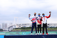29th August 2021; Tokyo, Japan; <br />  George Peasgood (GBR), Martin Schulz (GER), Stefan Daniel (CAN), <br /> Triathlon : Men's  PTS5 Medal Ceremony during the Tokyo 2020 Paralympic Games <br /> at the Odaiba Marine Park in Tokyo, Japan.