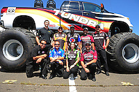 Jun. 2, 2012; Englishtown, NJ, USA: NHRA Toyota top fuel and funny car drivers (top L-R) Morgan Lucas, Jeff Arend, Antron Brown, Khalid Albalooshi and Cruz Pedregon.  (Bottom L-R) Cruz Pedregon, Brandon Bernstein, Alexis DeJoria and Shawn Langdon during qualifying for the Supernationals at Raceway Park. Mandatory Credit: Mark J. Rebilas-