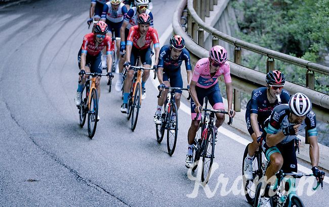 Maglia Rosa / Pink Jersey / GC Leader Egan Bernal (COL/Ineos Grenadiers) up the Passo di San Valentino (cat.1)<br /> <br /> 104th Giro d'Italia 2021 (2.UWT)<br /> Stage 17 from Canazei to Sega di Ala (193km)<br /> <br /> ©kramon