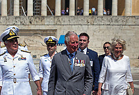Pictured: Prince Charles and the Duchess of Cornwall arrive at Syntagma Square to lay a wreath at the Monument of the Unknown Soldier in Athens, Greece. Wednesday 09 May 2018 <br /> Re: Official visit of HRH Prnce Charles and his wife the Duchess of Cornwall to Athens, Greece.