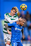 Ivan Alejo of SD Eibar (L) fights for the ball with Vitorino Antunes of Getafe CF (R) during the La Liga 2017-18 match between Getafe CF and SD Eibar at Coliseum Alfonso Perez Stadium on 09 December 2017 in Getafe, Spain. Photo by Diego Souto / Power Sport Images