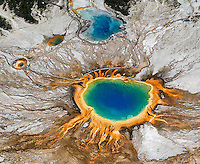 Grand Prismatic Spring and Excelsior Geyser, photographed during an aerial shoot of Yellowstone.