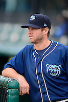Mobile BayBears second baseman Michael Freeman #5 before a game against the Pensacola Blue Wahoos on April 14, 2013 at Hank Aaron Stadium in Mobile, Alabama.  Mobile defeated Pensacola 5-2.  (Mike Janes/Four Seam Images)