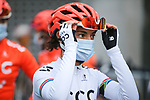 South African Champion Ashleigh Moolman Pasio (RSA) CCC Team-Liv at sign on before La Fleche Wallonne Femmes 2020, running 124km from Huy to Mur de Huy, Belgium. 30th September 2020.<br /> Picture: ASO/Thomas Maheux | Cyclefile<br /> All photos usage must carry mandatory copyright credit (© Cyclefile | ASO/Thomas Maheux)