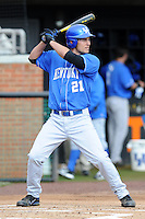 First Baseman Luke Maile #21 swings at a pitch during a  game against the Tennessee Volunteers at Lindsey Nelson Stadium on March 24, 2012 in Knoxville, Tennessee. The game was suspended in the bottom of the 5th with the Wildcats leading 5-0. Tony Farlow/Four Seam Images.