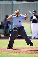 Umpire Mike Cascioppo makes a call during an instructional league game between the Kansas City Royals and Seattle Mariners at the Peoria Sports Complex on October 2, 2012 in Peoria, Arizona. (Mike Janes/Four Seam Images)