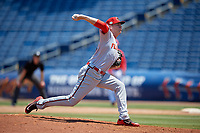 Florida Fire Frogs relief pitcher Walter Borkovich (33) during a Florida State League game against the Clearwater Threshers on April 24, 2019 at Spectrum Field in Clearwater, Florida.  Clearwater defeated Florida 13-1.  (Mike Janes/Four Seam Images)