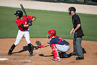Jameson Fisher (11) of the Kannapolis Intimidators at bat as Hagerstown Suns catcher Tres Barrera (14) sets a target and home plate umpire Mark Bass looks on at Kannapolis Intimidators Stadium on June 14, 2017 in Kannapolis, North Carolina.  The Intimidators defeated the Suns 4-1 in game one of a double-header.  (Brian Westerholt/Four Seam Images)