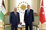 Palestinian President Mahmoud Abbas meets with Turkish President Recep Tayyip Erdogan, in Istanbul, Turkey, 10 July 2021. Photo by Thaer Ganaim