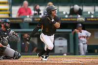 Bradenton Marauders Endy Rodriguez (5) bats during a game against the Jupiter Hammerheads on June 23, 2021 at LECOM Park in Bradenton, Florida.  (Mike Janes/Four Seam Images)