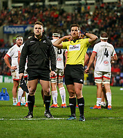 Friday 22nd November 2019   Ulster Rugby vs Clermont Auvergne<br /> <br /> Referee JP Doyle during the Heineken Champions Cup Pool 3 Round 2 match between Ulster Rugby  and Clermont Auvergne at Kingspan Stadium, Ravenhill Park, Belfast, Northern Ireland. Photo by John Dickson/DICKSONDIGITAL