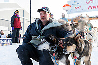 Ray Redington Jr. poses with lead dogs at Nome on Wednesday March 14th in the 46th running of the 2018 Iditarod Sled Dog Race.  <br /> <br /> Photo by Jeff Schultz/SchultzPhoto.com  (C) 2018  ALL RIGHTS RESERVED