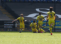 17th April 2021; Liberty Stadium, Swansea, Glamorgan, Wales; English Football League Championship Football, Swansea City versus Wycombe Wanderers; Garath McCleary of Wycombe Wanderers celebrates with team mates after scoring his sides second goal to make it 0-2 in the 51st minute
