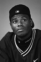 Ken Griffey,jr. of the Seattle Mariners at Anaheim Stadium in Anaheim,California during the 1996 season. (Larry Goren/Four Seam Images)