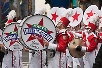 NEW YORK - NOVEMBER 25:  Members of the Macy's Great American Marching band perform during the annual Macy's Thanksgiving Day Parade  on Thursday, November 25, 2010.