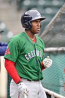 Josh Ockimey (18) of the Greenville Drive in a team workout on Wednesday, April 6, 2016, at Fluor Field at the West End in Greenville, South Carolina. (Tom Priddy/Four Seam Images)