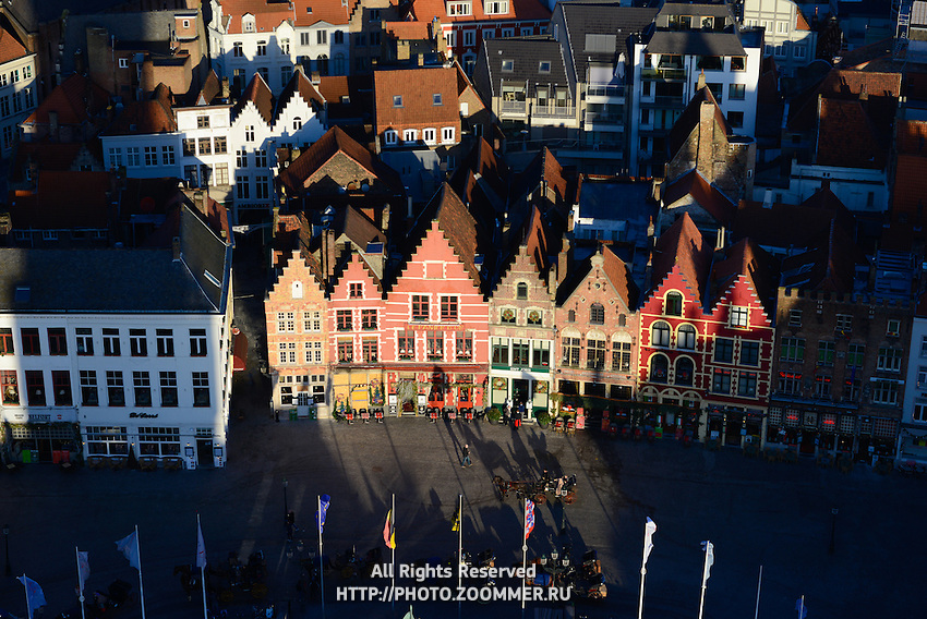 Brugge Market Square Guild Houses From Belfort Tower, Belgium