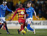 St Johnstone v Partick Thistle…02.03.16  SPFL McDiarmid Park, Perth<br />Liam Craig is tackled by Mathias Pogba<br />Picture by Graeme Hart.<br />Copyright Perthshire Picture Agency<br />Tel: 01738 623350  Mobile: 07990 594431