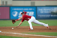 Palm Beach Cardinals third baseman Nolan Gorman (18) attempts to field a batted ball during a Florida State League game against the Clearwater Threshers on August 10, 2019 at Roger Dean Chevrolet Stadium in Jupiter, Florida.  Clearwater defeated Palm Beach 11-4.  (Mike Janes/Four Seam Images)