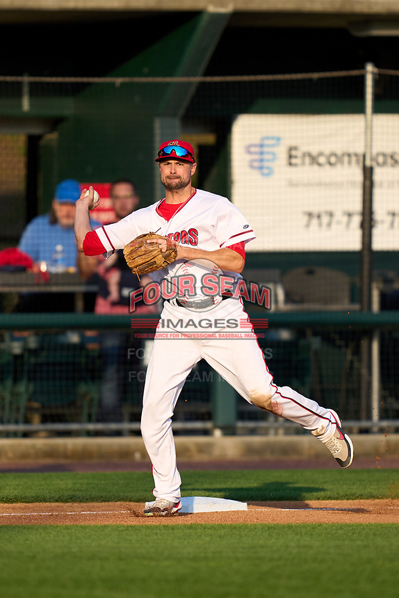 Harrisburg Senators third baseman Jordy Mercer (37) throws to first base during a game against the Bowie Baysox on September 8, 2021 at FNB Field in Harrisburg, Pennsylvania.  (Mike Janes/Four Seam Images)