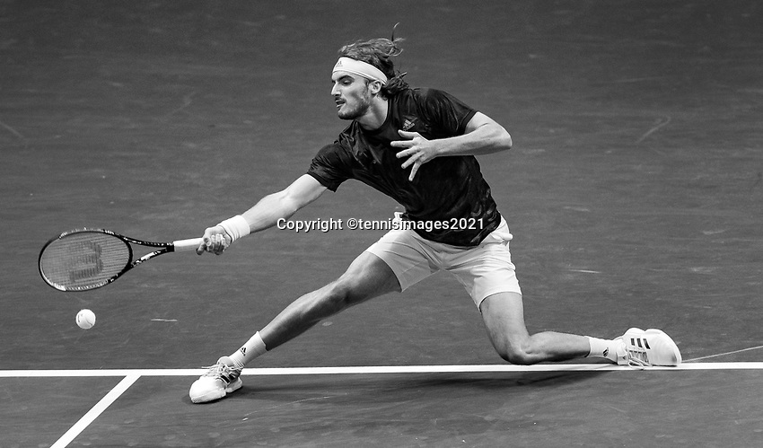 Rotterdam, The Netherlands, 6 march  2021, ABNAMRO World Tennis Tournament, Ahoy,  <br /> Semi final: Stefanos Tsitsipas (GRE). Photo: www.tennisimages.com/