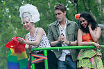 Spanish singer Soraya (l) with her boyfriend Miguel Herrera and the actress Beatriz Luengo (r) during the demonstration of World Pride Madrid 2017. July 1, 2017. (ALTERPHOTOS/Acero)