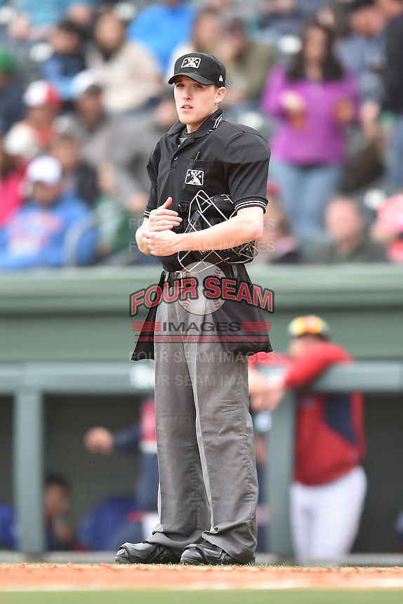 Home plate umpire Sam Dodson during a game between the Asheville Tourists and the Greenville Drive at Fluor Field on April 10, 2016 in Greenville South Carolina. The Drive defeated the Tourists 7-4. (Tony Farlow/Four Seam Images)