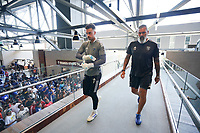 SAN JOSE, CA - AUGUST 8: JT Marcinkowski #1 of the San Jose Earthquakes with San Jose Earthquakes goalkeeper coach Carlos Roa before a game between Los Angeles FC and San Jose Earthquakes at PayPal Park on August 8, 2021 in San Jose, California.