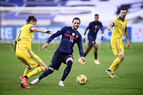 17th November 2020; Stade de France, Paris,  France; UEFA National League international football, France versus Sweden;  ADRIEN RABIOT (FRA) takes on Lustig of Sweden