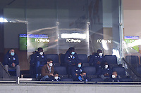 30th April 2021; Dragao Stadium, Porto, Portugal; Portuguese Championship 2020/2021, FC Porto versus Famalicao; Players of FC Porto on the bench observe the match from the stands socially distanced