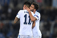 Joaquin Correa of Lazio celebrates with Danilo Cataldi of Lazio after scoring the second goal for his side during the Uefa Europa League 2018/2019 football match between SS Lazio and Marseille at stadio Olimpico, Roma, November, 08, 2018 <br />  Foto Andrea Staccioli / Insidefoto