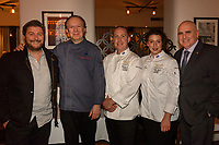 Melbourne, June 26, 2018 - Scott Pickett, Philippe Mouchel, Michael Cole, Laura Skvor and Tom Milligan pose for a photograph at a celebration event for Bocuse d'Or Australia team and their sponsors and supporters at Philippe Restaurant in Melbourne, Australia. Photo Sydney Low.