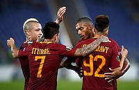 Calcio, Europa League, Gguppo E: Roma vs Austria Vienna. Roma, stadio Olimpico, 20 ottobre 2016.<br /> Roma's Stephan El Shaarawy, right, celebrates with teammates, from left, Radja Nainggolan, Juan Manuel Iturbe and Juan Jesus, after scoring during the Europa League Group E soccer match between Roma and Austria Wien, at Rome's Olympic stadium, 20 October 2016. The game ended 3-3.<br /> UPDATE IMAGES PRESS/Isabella Bonotto